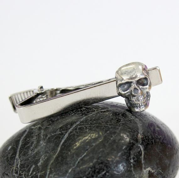 Gift Set for Him Skull Cufflinks And Tie Clip Set Silver Human Skull Cuff links and Tie Bar Clasp