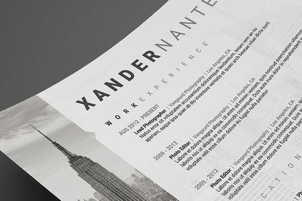 Photographer Resume - .PSD Template by Cursive Q Designs on @creativemarket