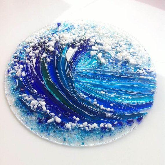 fused glass wall art sea wave sea wall decor sea wall art ocean wall art