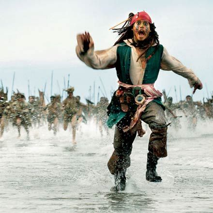 Johnny Depp as Captain Jack Sparrow in the Pirates of the Caribbean movies