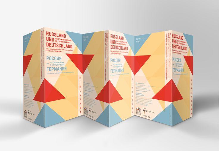 Graphic Design & Visual Concept by Little Adén Design for German-Russian Museum Berlin-Karlshorst at Martin Gropius Bau Museum Berlin. Flyer, brochure and invitation card.