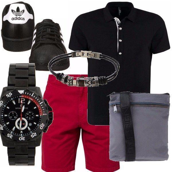 Se ti piace il rosso, ho scelto per te questi pantaloncini bermuda abbinati ad una polo black come le Adidas, ti piace? L'orologio abbastanza vistoso lo affiancherei al bracciale. La messenger in grigio per staccare leggermente rimanendo nel mood giusto.