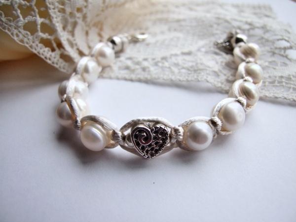 Bracelet, Freshwater Pearl and Satin Cord Macrame £12.95