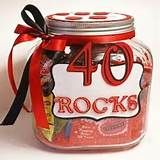 40th birthday ideas for men - Yahoo Image Search Results - maybe fill jar with chocolate rocks