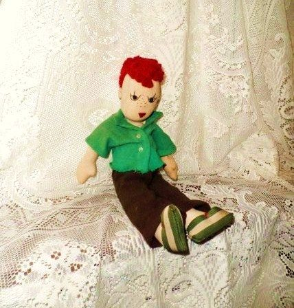 Anatomically Correct Handmade Boy Doll- Old Rag Dolly- Red Hair-Freckles- Hand Sewn Unique Vintage Cloth Doll- Hand Sewn Male Toy Doll- Wow! by OrphanedTreasure on Etsy