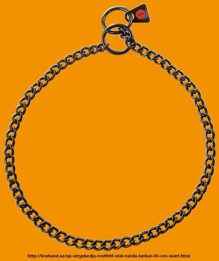 SP Strypkedja, rostfritt stål, runda länkar 45 cm, Svart. Fabrikat Sprenger, Tyskland. En snygg strypkedja i rostfritt stål som lämpar sig både till lydnad och utställning. Med sina korta länkar glider den mycket väl genom ringen.