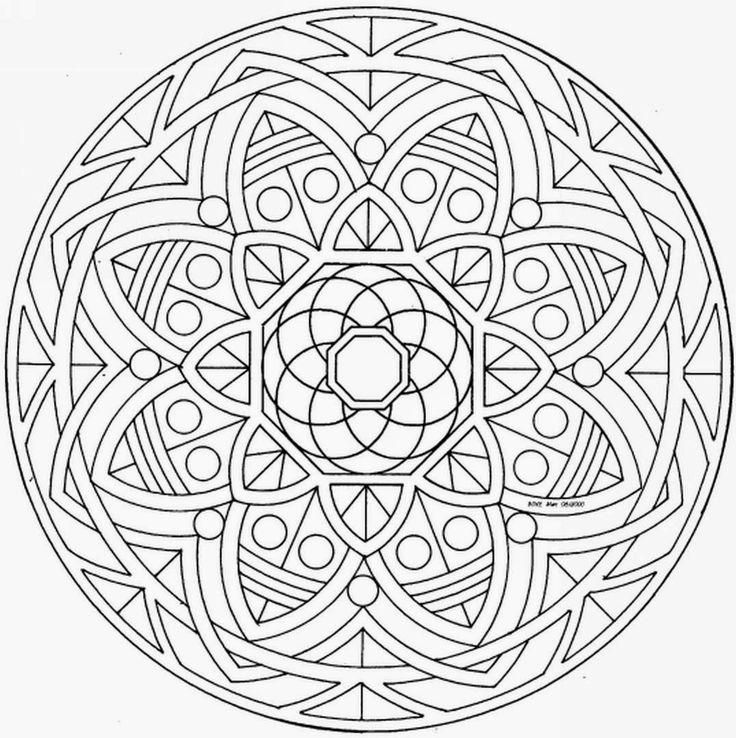 Mandalas para pintar mandalas pinterest mandala for Geometric mandala coloring pages