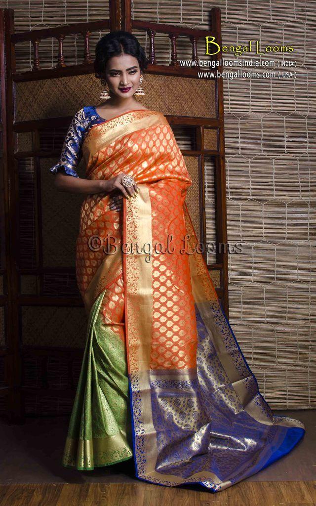 fdd19136d0dcb4 Art Silk Patli Pallu Kanjivaram Silk Saree in Orange and Green ...