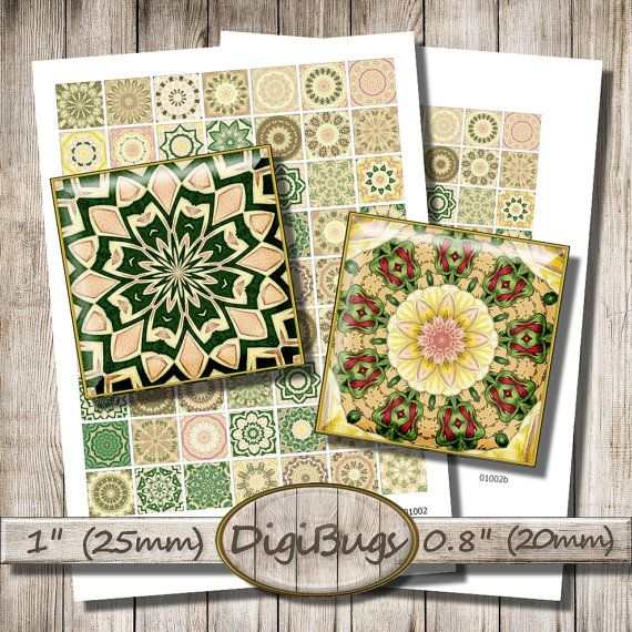 Printable Mandala Images, 0.8 inch, 1 inch Squares, 20 mm, 25 mm, Kaleidoscope for Magnets, Green Mandala Decoupage, Instant Download, b6