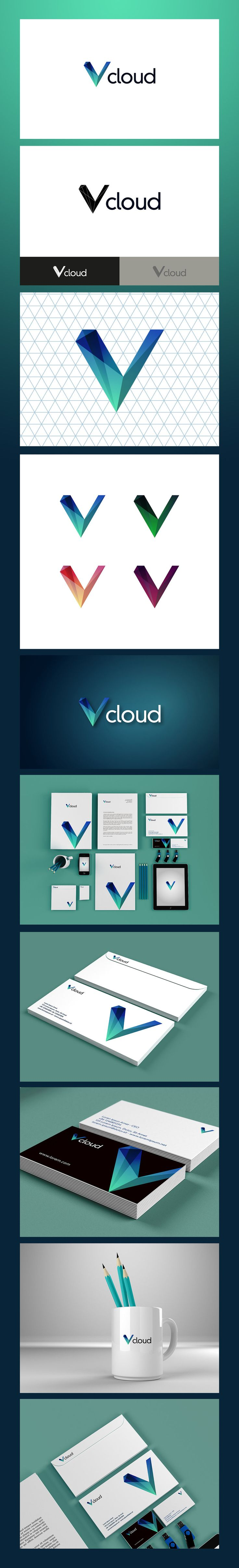 Vcloud visual identity || Introducing Moire Studios a thriving website and graphic design studio. Feel Free to Follow us @moirestudiosjkt to see more amazing pins like this. Or visit our website www.moirestudiosjkt.com to know more about us. #brandIdentityDesign #corporateDesign #logoDesign ||