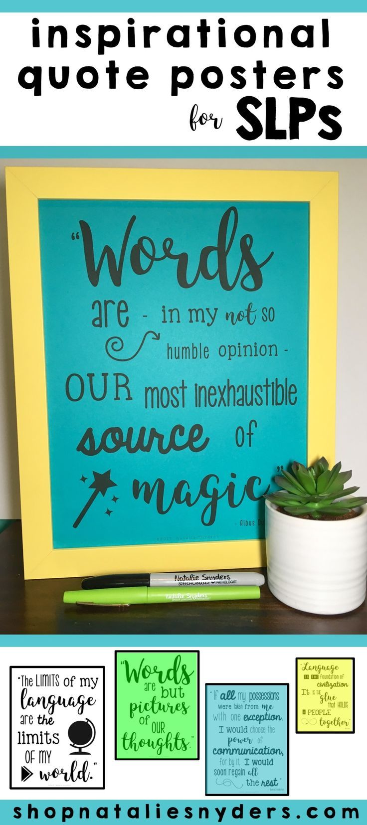Set of 10 adorable inspirational quote posters for SLPs!