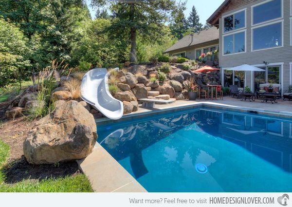 15 gorgeous swimming pool slides home design home and swimming pool slides - Swimming pool designs with slides ...