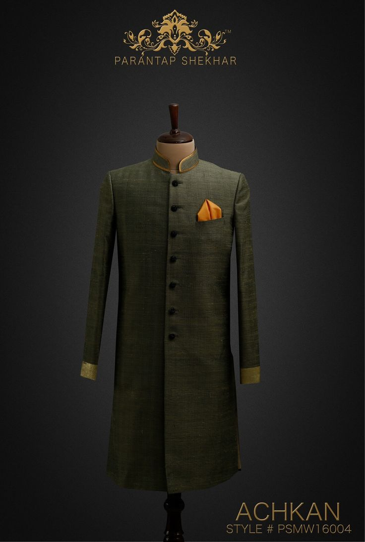 MENSWEAR: Bronze Green Classy Hand-Spun Silk Achkan, Crystal Swarovski Metallic Buttons at Straight front Placket and Golden work at Sleeves Ends. Complete Outfit: Achkan, White Pyjama Pants & Silk Pocket Square For more info, catch us on www.parantapshekhar.com