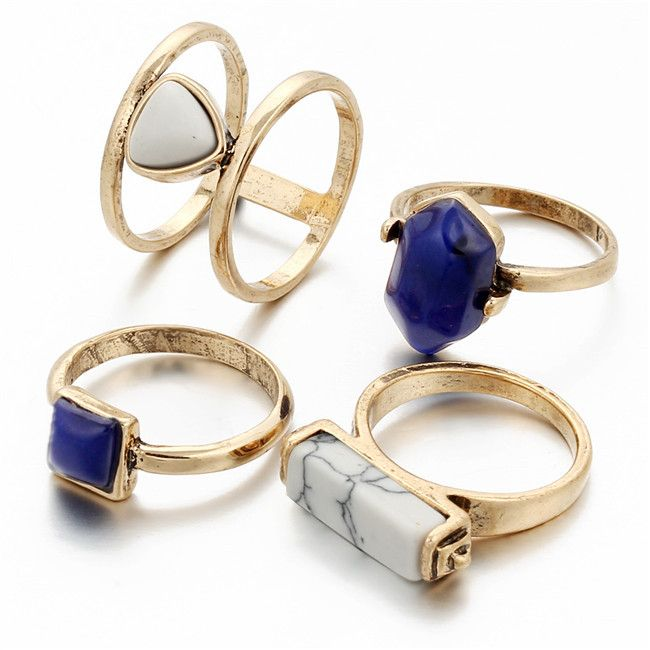 This boho chic midi ring set is complete perfection, this bold staple can be worn together as a set or separately for versatility, feel free to mix and match. Features include sapphire style gems, mar