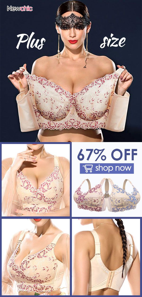 527c6956e2591 Plus Size Wireless Embroidery Unlined Full Cup Bras  plussize  wireless   embroidery  bras