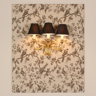 The Plantation wall light is a brass wall light with 3 arms. To create this gorgeous panel, we simply stretched fabric over a piece of MDF. A simple hole for the wires meant that that we could still fix our plantation wall light easily too. www.jim-lawrence.co.uk