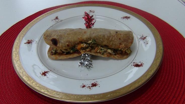 Indian Style Scramble Eggs Khati Roll Style