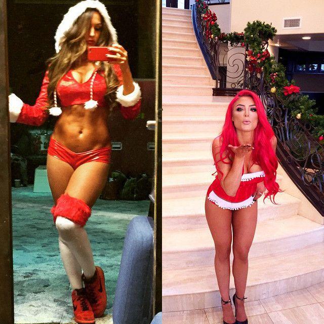 Nikki Bellas Sexy Santa Claus Outfit, Eva Maries Sultry -7408