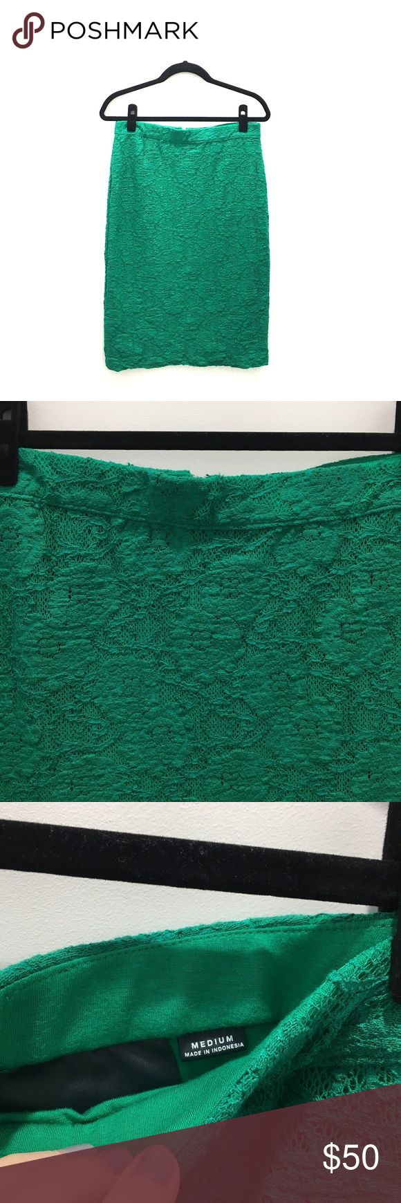 Anthropologie Green Pencil Skirt Size Medium Anthropologie green pencil skirt. The material is a little stretchy but has a defined waist band. The floral texture is beautiful. Size Medium. Anthropologie Skirts Pencil