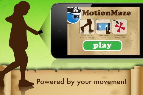 MotionMaze ($0.00) Ahoy, land lubber! Welcome to MotionMaze, a puzzle game powered by your movement. Help Captain Mapp get through the treasure map mazes as quickly as possible by walking or jogging in place. Get up and get moving!!!