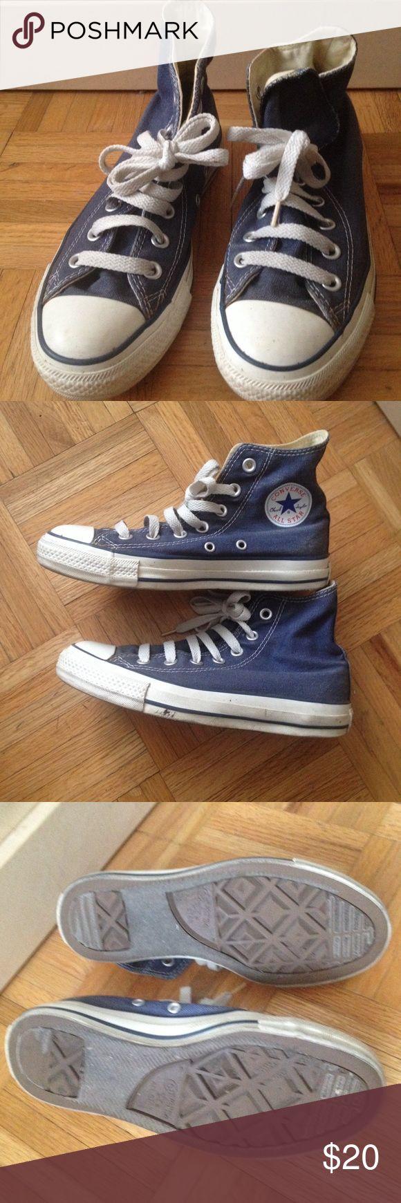 SOLD! Converse high tops sz 5.5 women blue on Poshmark! My username is: rockstarsissy. #shopmycloset #poshmark #fashion #shopping #style #forsale #Converse #Shoes