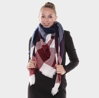 Burgundy & Navy Blanket Scarf