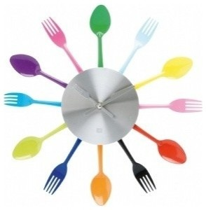 colorful silverware clock: Kitchens, Ideas, Time, Kitchen Clocks, Silverware Utensils, Wall Clocks, Wallclock, Rainbow, Utensils Wall