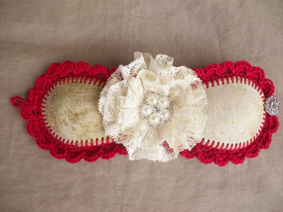 Crochet edged Baseball Bracelet Cuff in Red by AngieHallHaviland, $25.00