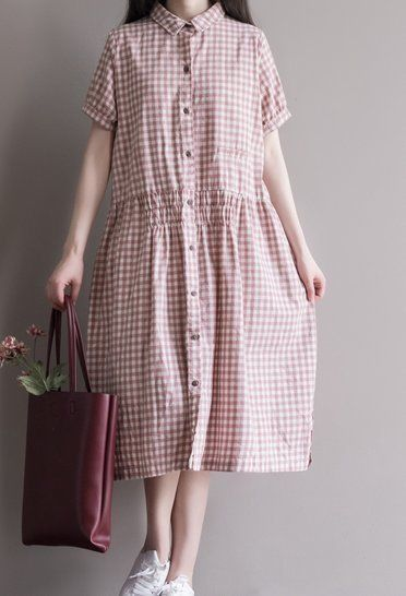 Women loose fit over plus size button up checkers linen dress long skirt blouse #Unbranded #dress #Casual
