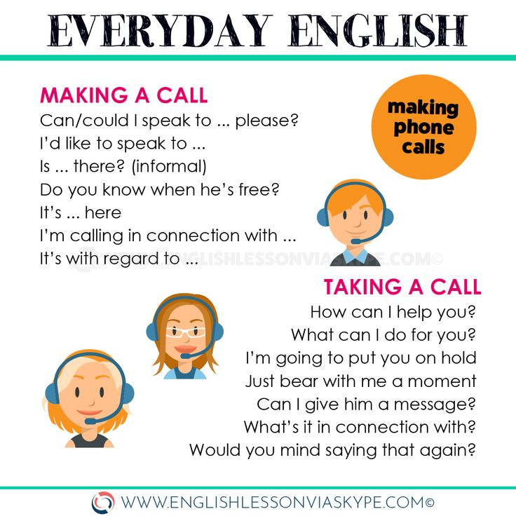 Telephone English phrases. How to make a call in English. How to take a call in …