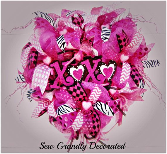 """RESERVED!! -Deco Mesh Valentine Wreath """"Valentine Wishes ..."""
