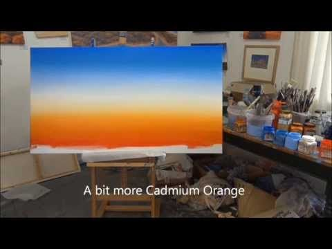 How to paint blended skies in acrylics by Linda MacAulay - YouTube