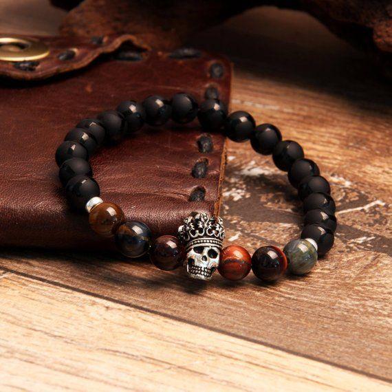 King Skull Bracelet, Men's Jewelry, Striped Onyx Bracelet, Christmas Gift, Boyfriend Gift, Gift for Men, Men's Gift, Tiger Eye Bracelet
