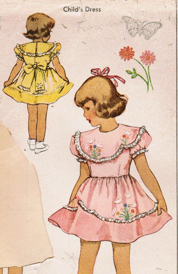 1940s McCall 1472 Vintage Sewing Pattern Toddler's Dress Size 2