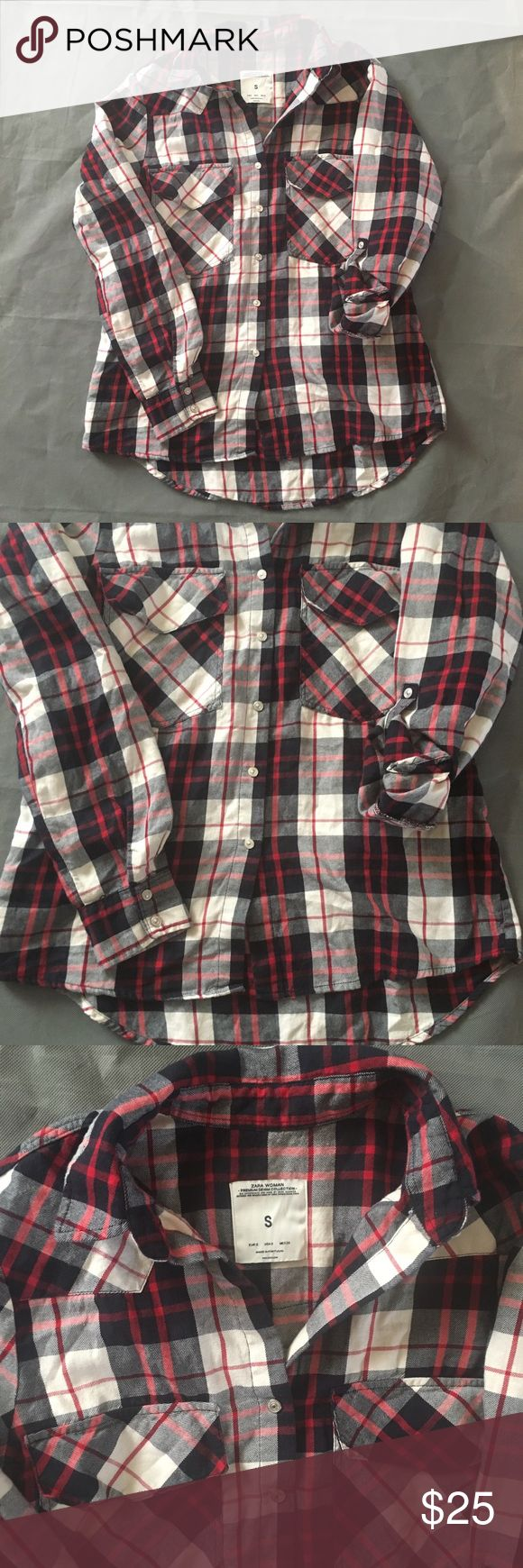 ZARA Woman Premium Denim Plaid Flannel Shirt Small In overall great condition. Check out our closet for great bundle offers! Price firm unless bundled! Zara Tops Button Down Shirts