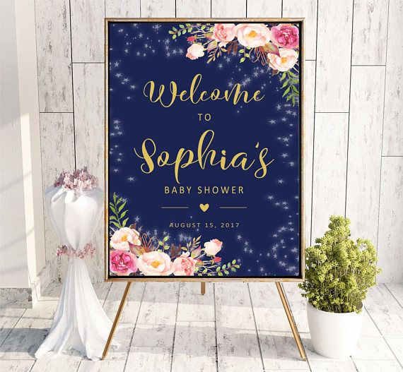 Welcome to Baby Shower sign Navy Blue Pink Gold Personalized