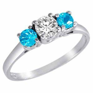 $499.00-14K Gold Round 3 Stone Diamond and Blue Topaz Accented Ring (0.95 ctw)-Engagement Rings Under $500