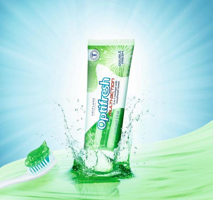 Gelová zubní pasta s perličkami ústní vody 2v1 Optifresh