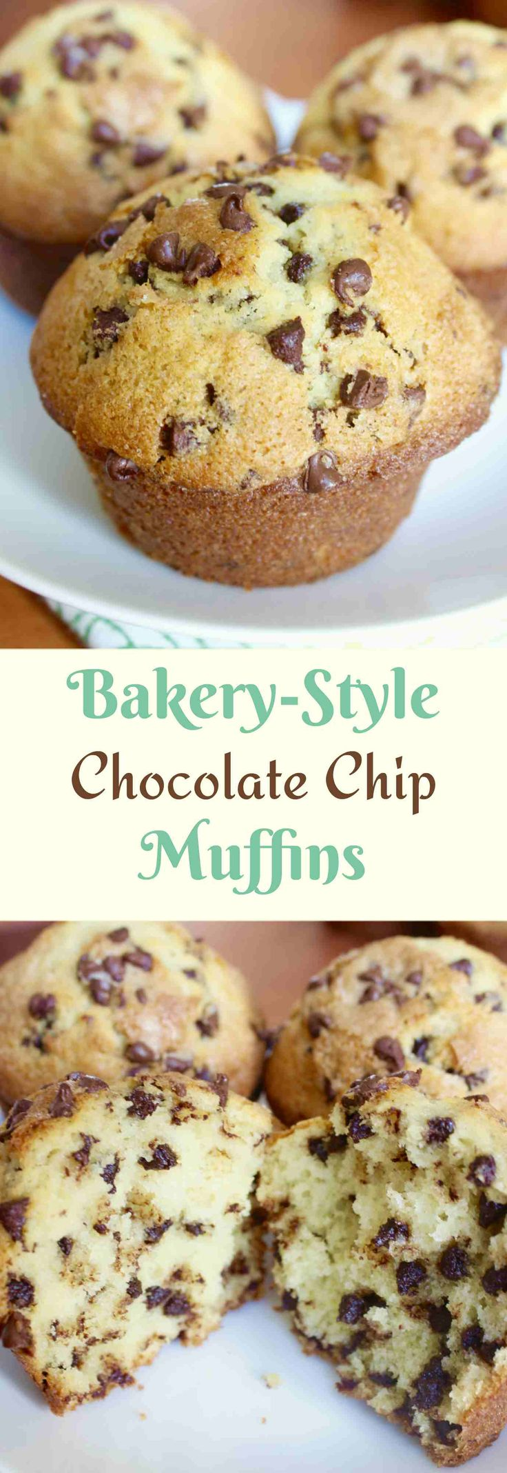 Big, fluffy, and moist bakery-style muffins with mini chocolate chips in the middle and sugar sprinkled on top.