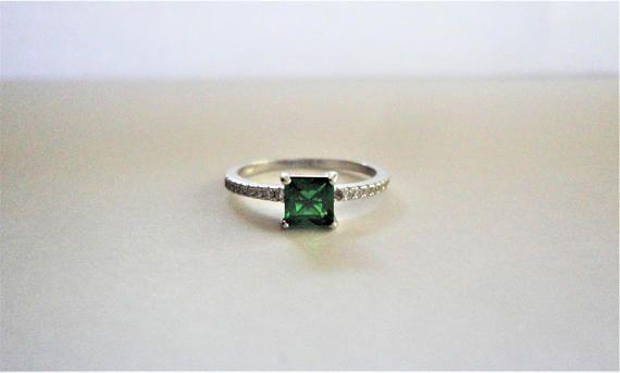 Green Natural Princess cut Emerald Simulated 925 Sterling