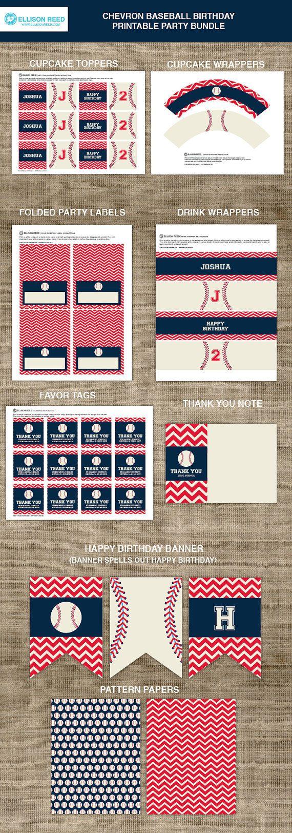 Baseball Printable  Baseball Birthday  Sports by EllisonReed