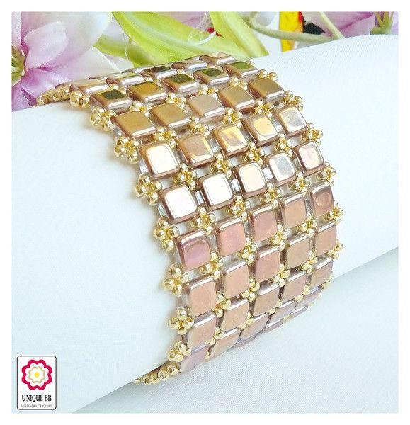 Złota bransoletka z koralików TILE - Unique-BB - Bransoletki pozłacane