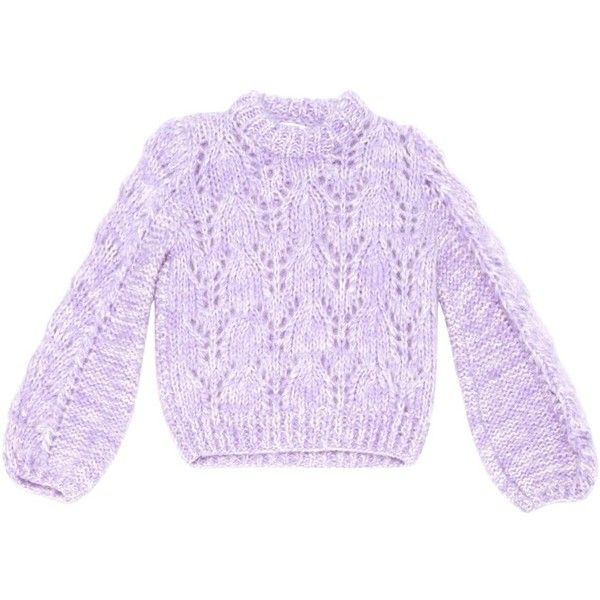 Wool jumper GANNI (9.045 RUB) ❤ liked on Polyvore featuring tops, sweaters, woolen sweater, jumpers sweaters, purple jumper, woolen jumper and purple top
