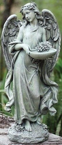 15.75 Angel With Bowl Birdfeedr. Garden StatuesOutdoor ...