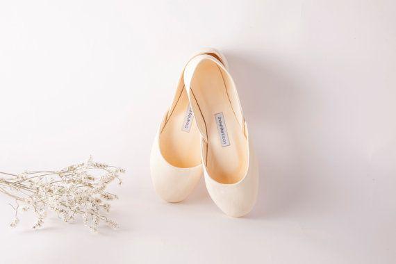 Elfenbein Brautballerinas Elfenbein Weiß Leder von thewhiteribbon