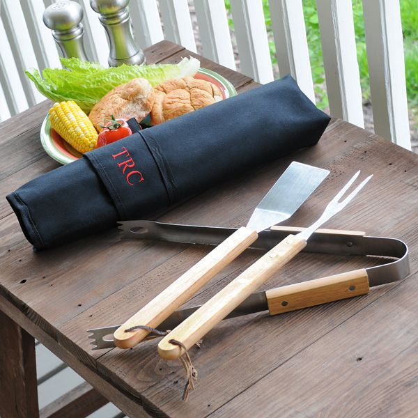 Personalized 3pc. BBQ Tool Set for Groomsmen.