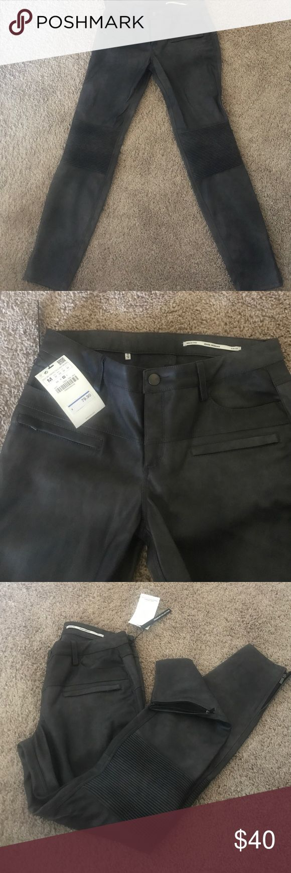 Zara Faux leather biker pants medium Brand new with tags! Zara faux leather biker pants never worn! Tags attached. Zipper detail and the bottom of pants with biker detail at the knee! Grey color size medium Zara Pants Skinny