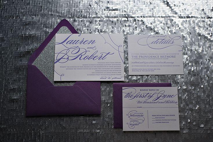 Purple glitter letterpress wedding invitations