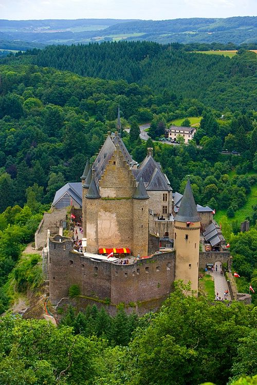 Vianden Castle, Luxembourg. Largest castle west of the Rhine River.  Restoration completed in 1990 and now open to the public.