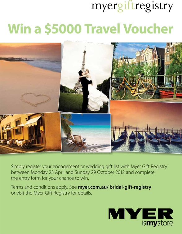 Win a travel voucher! Simply register your wedding or gift